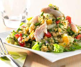 Linsen-Petersilien-Salat mit Forellenfilets