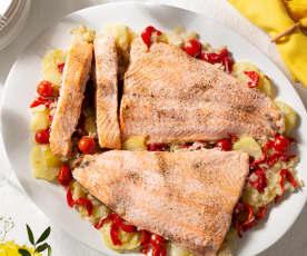 Salmón al horno con patatas panadera XXL