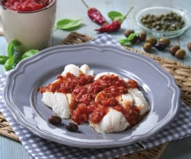 Cernia con salsa mediterranea