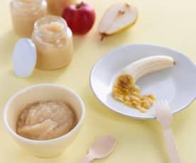 Puré de maçã, pera e banana