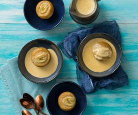 Steamed banana puddings with honey ginger crème anglaise