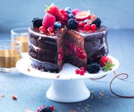 Bavarois chocolat, caramel et fruits rouges
