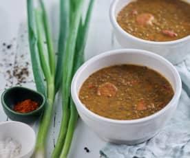 Guisado de lentilhas e chouriço