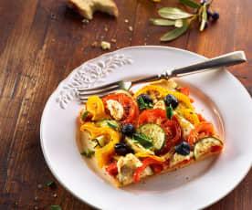 Zucchini-Paprika-Pfannkuchen vom Blech