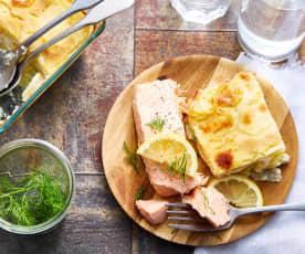 Gratin dauphinois à la crème de céleri-rave et pavé de saumon