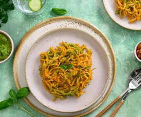 Spaghetti de patate douce, pesto aux herbes