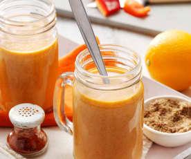 Bebida antioxidante (lino, coco, pimiento rojo y naranja)