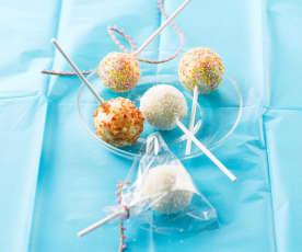 Kokosnuss-Lollipops mit weisser Schoggi