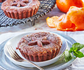 Tartaletas con manzana, mandarina y menta