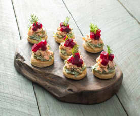 Poached salmon and beetroot blinis