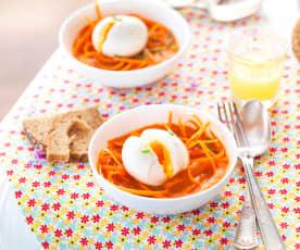 Velouté de carotte, gingembre, œuf mollet et carottes crues à l'huile d'olive