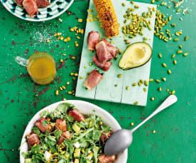 Salada de pêssego com presunto