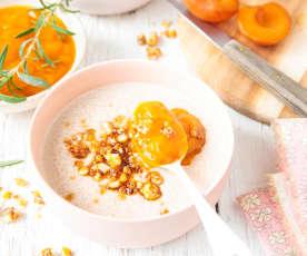 Semoule à la noisette, compotée d'abricots au romarin