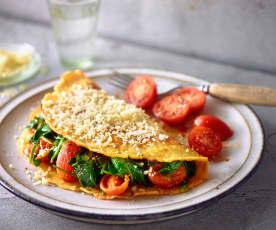 Käse-Omelette mit Spinat