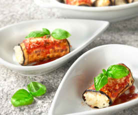 Eggplant involtini with risotto