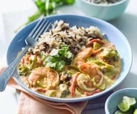 Thai-Garnelen-Curry mit Wildreis