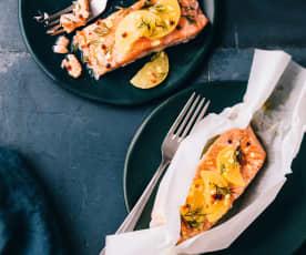Papillotes de saumon, citron confit-gingembre