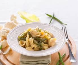 Pasta risottata con cavolfiori e fagiolini
