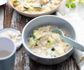 Baby-friendly Courgette and Goat's Cheese Pearl Barley Risotto