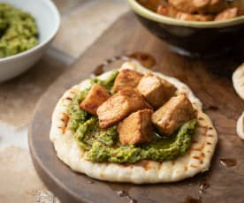 Pork with Broccoli Pesto and Flatbreads