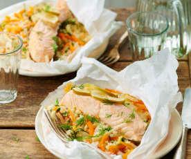 Papillote de saumon aux petits légumes et couscous