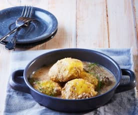 Cheese-Filled Beef Patties with White Wine and Almond Sauce