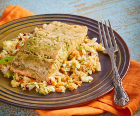 Green Tea Salmon with Asian Slaw