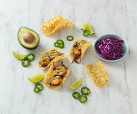 Prawn tacos with avocado lime sauce
