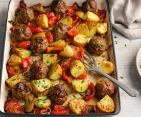 Meatballs and Chilli Cheese Potatoes