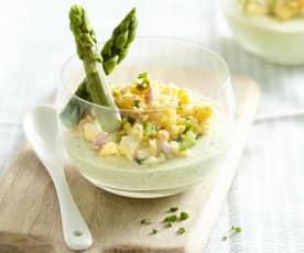 Verrine crème d'asperge verte et mimosa d'asperge aux œufs