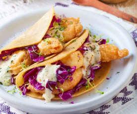 Tacos de camarón con mayonesa de habanero