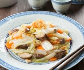 Kai yang bai cai (braised cabbage with mushrooms)