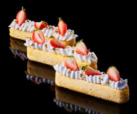 Bachour: Cheesecake con crema de limón y sorbete de fresa