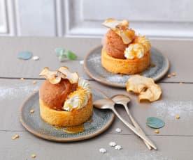 Sorbet pomme-cidre, sablé breton, sirop au miel et crème chantilly