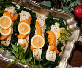 Steamed Halibut with Romesco Sauce (Bill Yosses)