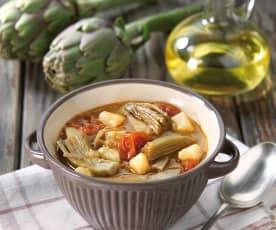 Zuppa di patate e carciofi