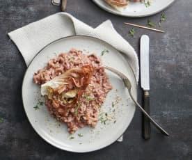 Cicorino-Risotto mit Ziegenkäse-Päckli