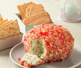 Aperitivo de queso con granada