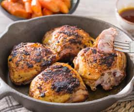 Pollo adobado con zanahorias glaseadas (Al vacío)