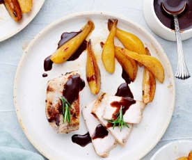Sous-Vide Pork Chops, Pears and Chocolate Sauce