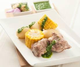 Patatas, costillas y maíz con mojo verde (Papas con millo)