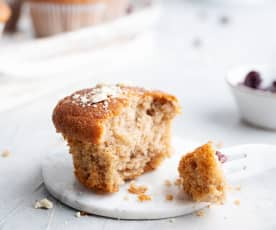 Muffin integral de plátano con arándanos