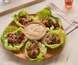 Tacos vegetales de lentejas con dip de tofu
