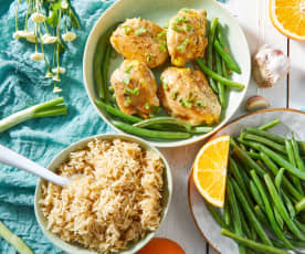 Orange Garlic Chicken with Rice
