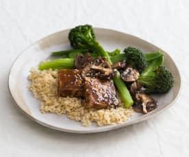 Hoisin tofu with brown rice