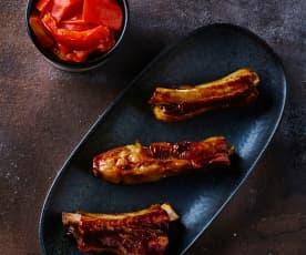 Costine di maiale con contorno di peperoni sottovuoto