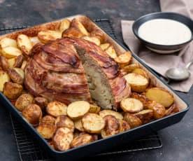 Mięsny kalafior z pieczonymi ziemniakami i sosem musztardowym
