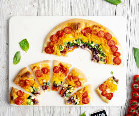 Pizza arcoiris con vegetales