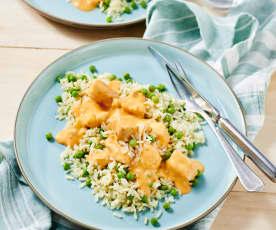 Hähnchen in cremiger Pesto-Sauce mit Erbsen-Reis