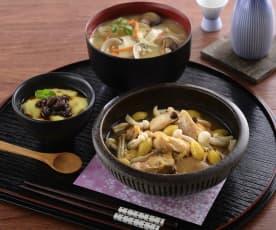 抹茶豆乳布丁、清酒蒸雞肉&蛤蜊味噌湯